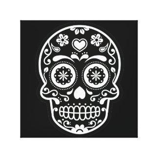 Black and White Sugar Skull Heart Canvas Print
