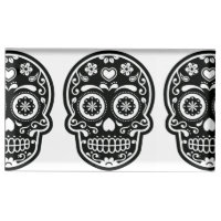 Black and White Sugar Skull Heart Place Card Holder
