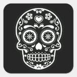 Black and White Sugar Skull Heart Square Sticker