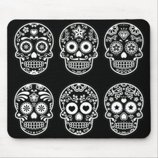 Black and White Sugar Skull Mouse Pad