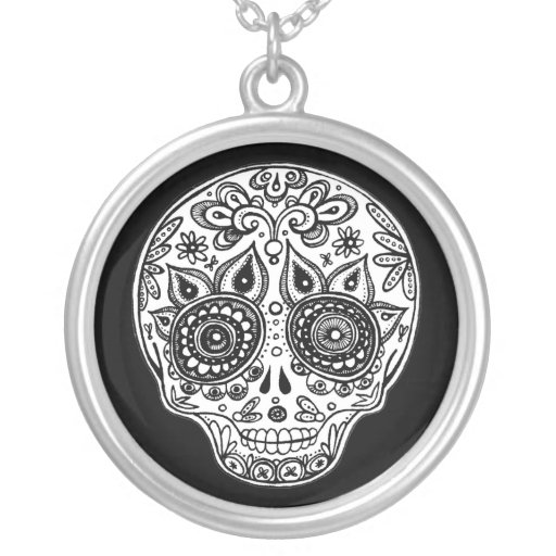 Black and White Sugar Skull Necklace
