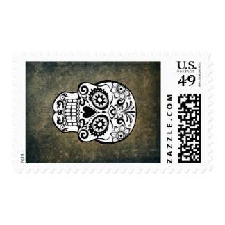 Black and White Sugar Skull Postage Stamp