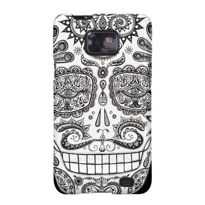 Black and White Sugar Skull Samsung Galaxy S2 Case