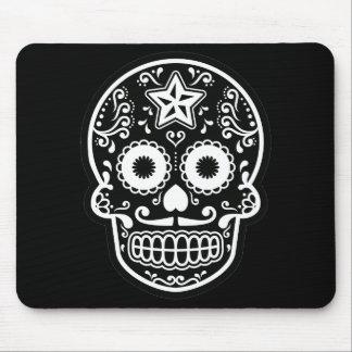 Black and White Sugar Skull Star Mouse Pad
