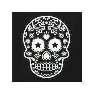 Black and White Sugar Skull Starry Eyes Canvas Print
