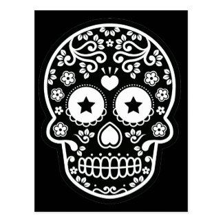 Black and White Sugar Skull Starry Eyes Postcard