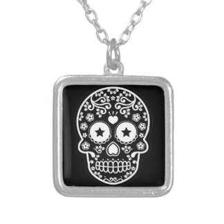 Black and White Sugar Skull Starry Eyes Silver Plated Necklace
