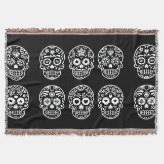 Black and White Sugar Skull Throw Blanket