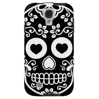 Black and White Sugar Skull Vine Galaxy S4 Case