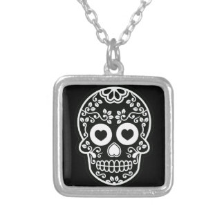 Black and White Sugar Skull Vine Silver Plated Necklace