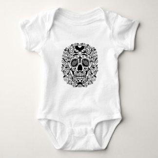 Black and White Sugar Skull With Rose Eyes Baby Bodysuit