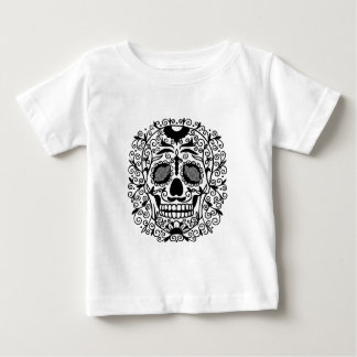Black and White Sugar Skull With Rose Eyes Baby T-Shirt