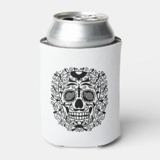 Black and White Sugar Skull With Rose Eyes Can Cooler