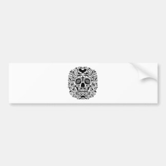 Black and White Sugar Skull With Rose Eyes Car Bumper Sticker