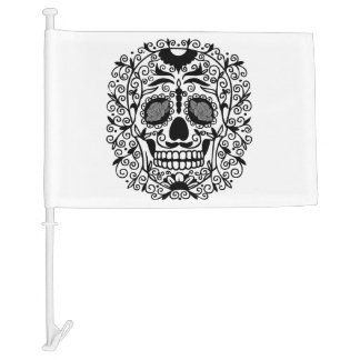 Black and White Sugar Skull With Rose Eyes Car Flag