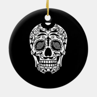 Black and White Sugar Skull With Rose Eyes Ceramic Ornament