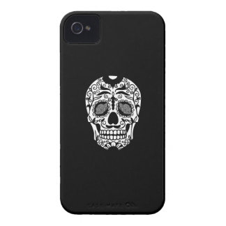 Black and White Sugar Skull With Rose Eyes iPhone 4 Case-Mate Cases