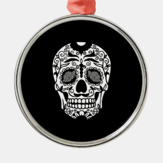 Black and White Sugar Skull With Rose Eyes Metal Ornament