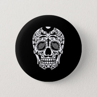 Black and White Sugar Skull With Rose Eyes Pinback Button