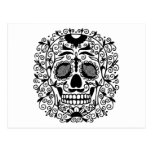 Black and White Sugar Skull With Rose Eyes Postcard