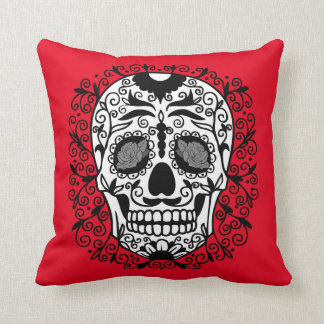 Black and White Sugar Skull With Rose Eyes Throw Pillow