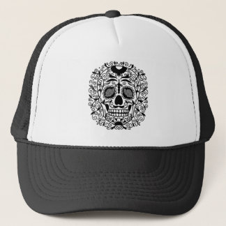 Black and White Sugar Skull With Rose Eyes Trucker Hat