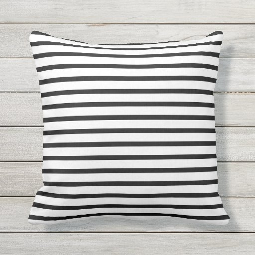 Black and White Summer Stripes Outdoor Pillows