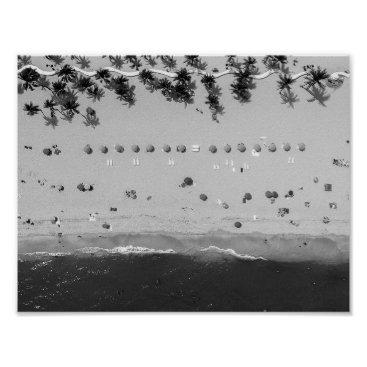 Beach Themed Black and White Summertime Beach Poster