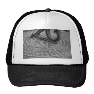 Black and white sun dial trucker hat
