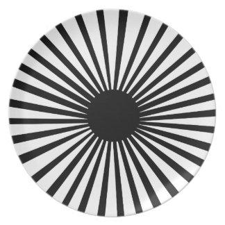 Black and White Sunburst plate