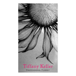Black and White Sunflower Double-Sided Standard Business Cards (Pack Of 100)