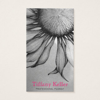 Black and White Sunflower Business Card