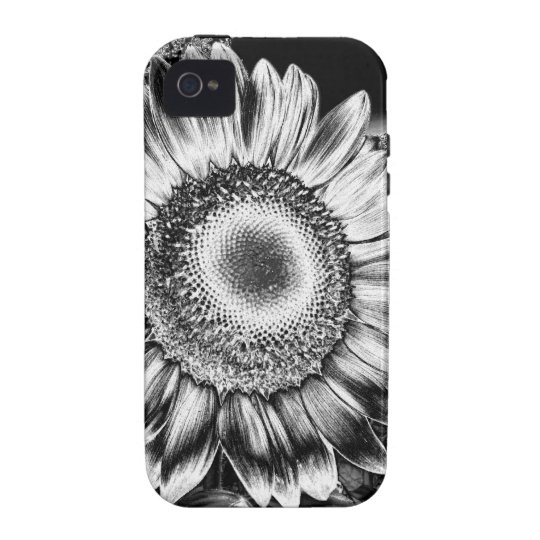 Black and White Sunflower Case-Mate iPhone 4 Cover