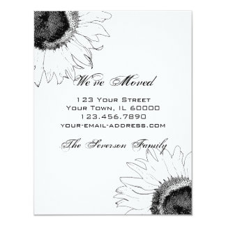 "Black and White Sunflower Change of Address 4.25"" X 5.5"" Invitation Card"