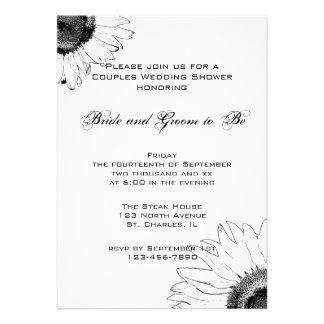 Black and White Sunflower Couples Wedding Shower Invitations