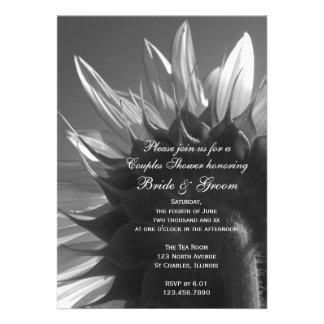 Black and White Sunflower Couples Wedding Shower Custom Invitation