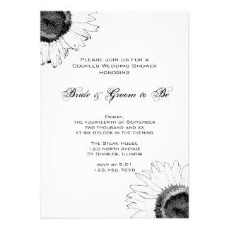 Black and White Sunflower Couples Wedding Shower Custom Invite