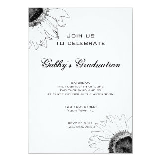 Black and White Sunflower Graduation Party Card