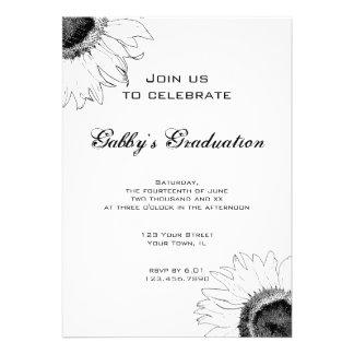 Black and White Sunflower Graduation Party Invite