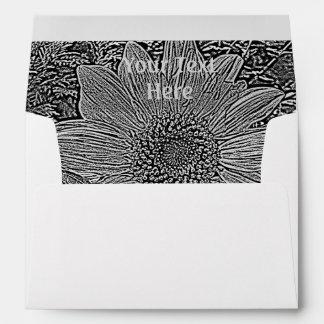 black and white sunflower original modern art envelope