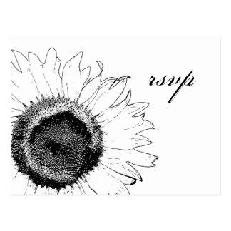 Black and White Sunflower Response RSVP Postcard