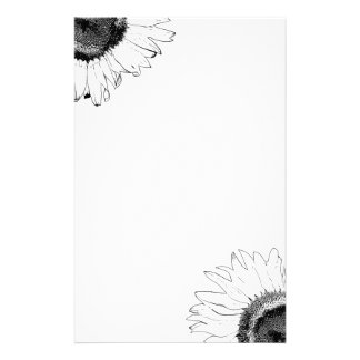 Black and White Sunflower Stationery