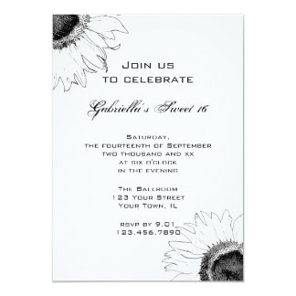 Black and White Sunflower Sweet 16 Invitation