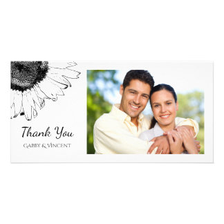 Black and White Sunflower Thank You Card