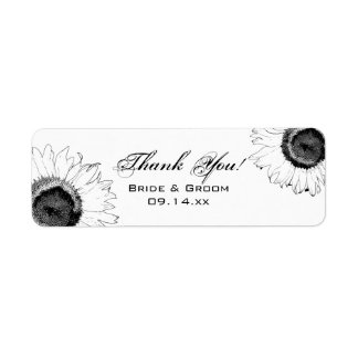 Black and White Sunflower Thank You Favor Tag Return Address Label