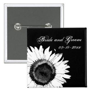Black and White Sunflower Wedding Button