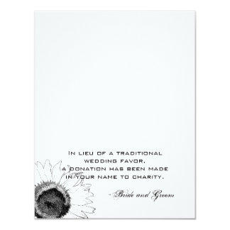 Black and White Sunflower Wedding Charity Favor Card