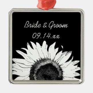 Black and White Sunflower Wedding Ornament