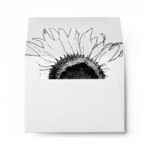 Black and White Sunflower Wedding RSVP Card Envelope