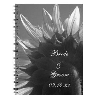 Black and White Sunflower Wedding Spiral Notebook
